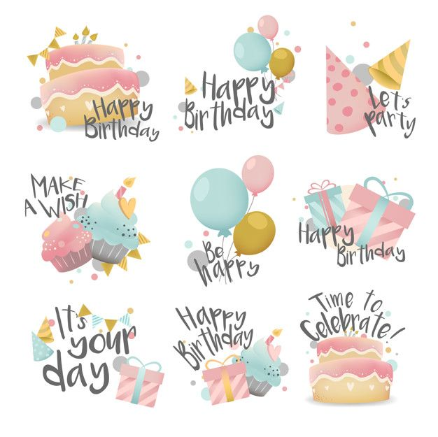 Collection of colorful birthday badge vectors Happy Birthday Signs, Happy Birthday Images, Birthday Greetings, Birthday Wishes, Happy Birthday Parties, Watercolor Birthday Cards, Birthday Card Drawing, Birthday Card Design, Birthday Badge