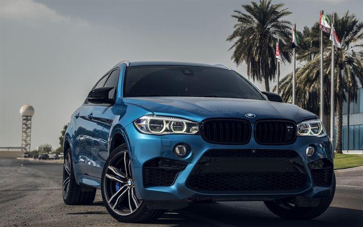 Download wallpapers BMW X6M, F86, raceway, 2017 cars, blue X6M, tuning, BMW
