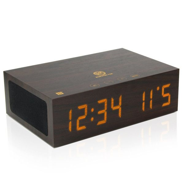 GOgroove BlueSYNC TYM Bluetooth Wireless Stereo Speaker & Wooden Alarm Clock w/ NFC Pairing, USB Charging, and LED Time + Date Display for Phones, MP3 Players, Tablets, & More