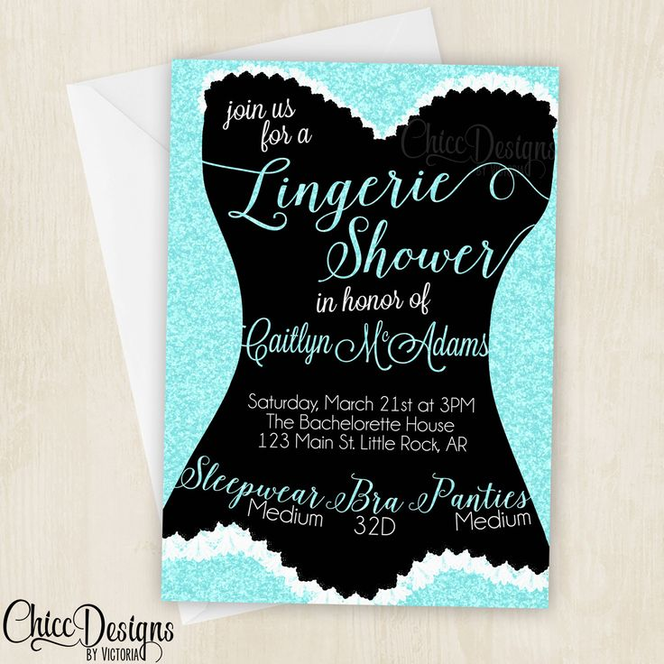 bridal shower invitations with recipe card attached%0A Lingerie Shower Invitation  Glitter  Color Options  Blue  Pink  Purple   Red