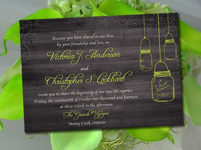 Rustic Wedding Invitation Template Mason Jar Invitation Lime Green Instant  Download DIY Wedding Template Printable Wedding Invitation