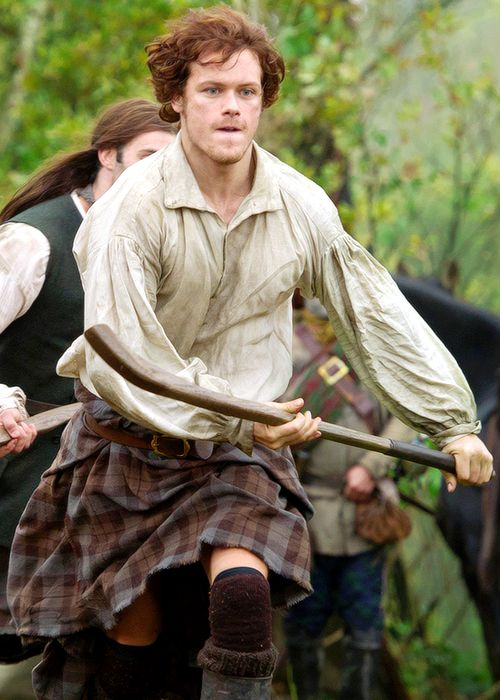 """Jamie playing """"Shinty"""", a favorite 18th C. sport in the Scottish Highlands which was rather brutal!  Uncle Dougal taught him when he was a lad of 16."""