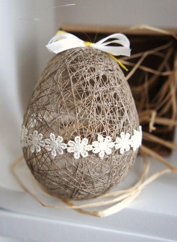 EASTER egg handmade LINEN thread ornament by liradesigne on Etsy, €7.00