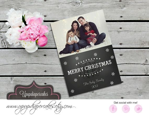 Christmas Photo Card--Modern Chalkboard Photo Card--Holiday Cards--Christmas Cards--Printable
