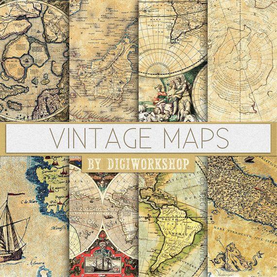 Mappe d'epoca digitale carta Vintage Maps con di DigiWorkshop