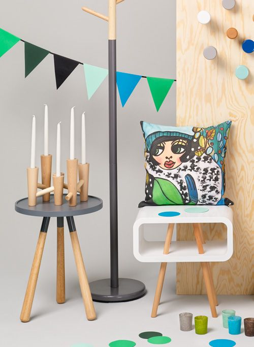 Nordic style with colourful touch by Dixie. Cushion cover designed by Karolina Palmér
