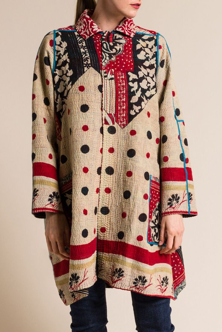 $810.00 | Mieko Mintz  4-Layer Vintage Cotton A-Line Duster Jacket in Red/White | Mieko Mintz creates clothing from vintage saris, which are upcycled into new fashion. The reversible clothing is an artful multi-pattern combination of by Mieko that is then made into kantha fabric. Sold online and in-store at Santa Fe Dry Goods in Santa Fe, New Mexico.