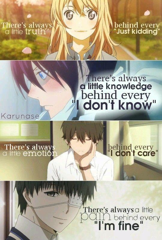 Shingatsu Wa Kimi No Uso || Noragami || Hyouka || Tokyo Ghoul || Anime Quotes