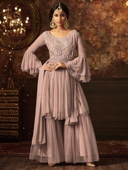 f74730f5daf Pretty light pink designer sharara online which is crafted from net fabric  with exclusive embroidery and stone work. This stunning designer sharara  comes ...