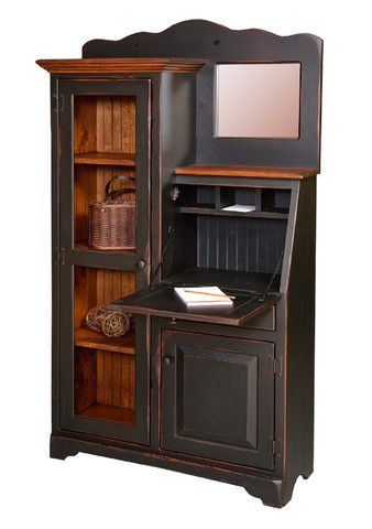 Custom Finished SECRETARY DESK & BOOKCASE Side-By-Side in Primitive Antiqued Paint Don't miss this rare and limited opportunity ~ allow Saving Shepherd to be YOUR EXCLUSIVE CONNECTION to this small, g                                                                                                                                                                                 More