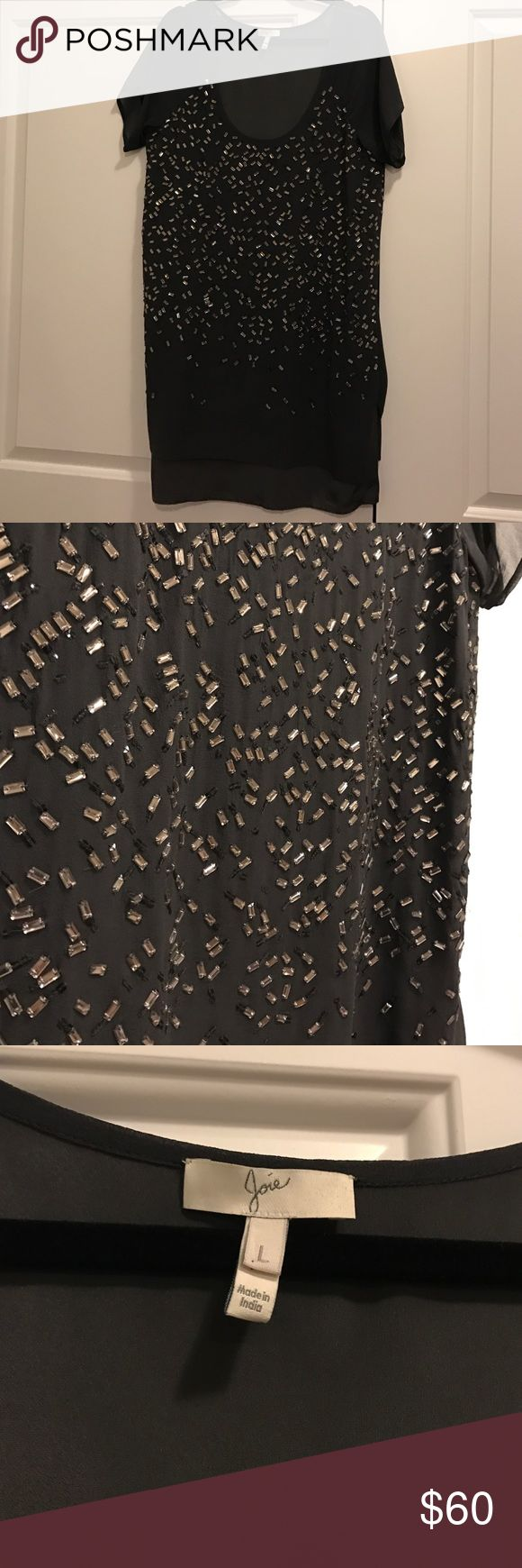 Joie Black Beaded Shift Dress Great joie dress with sequin detail. Two layers (see 4th pic) with silky under layer and sheer top layer. Size L great condition. Joie Dresses