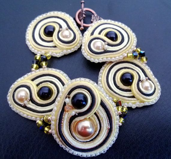 Loyal Hufflepuff Handsitched Soutache Bracelet by WickedLittleShop, $40.00