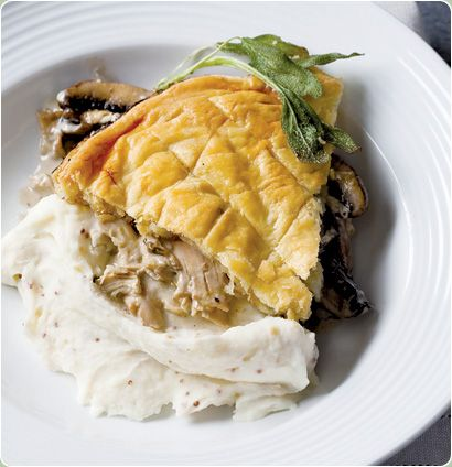 This home-made chicken and mushroom pie is so easy to make, using a ready rotisserie chicken, brown mushrooms, a couple of pantry staples and your best store-bought puff pastry. Serve with mash and a glass of white wine.