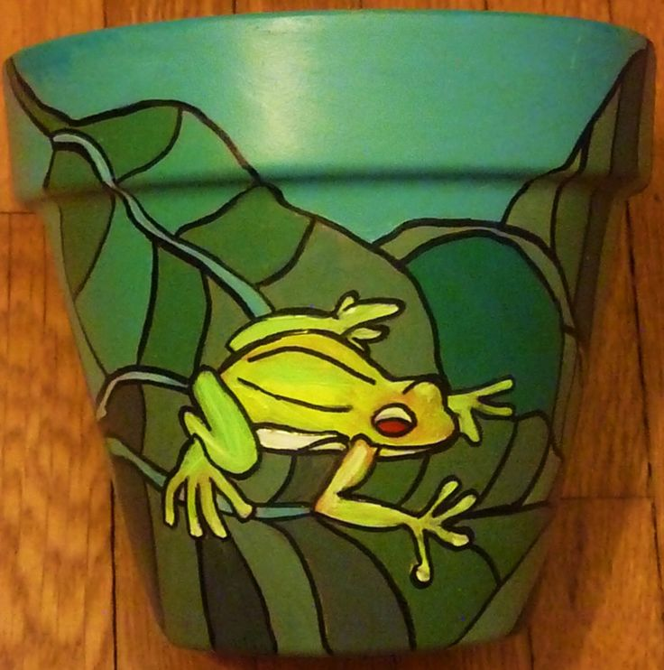 Painted Flower Pots | Tree Frog 6 Original Hand Painted Flower Pot by leahreynolds