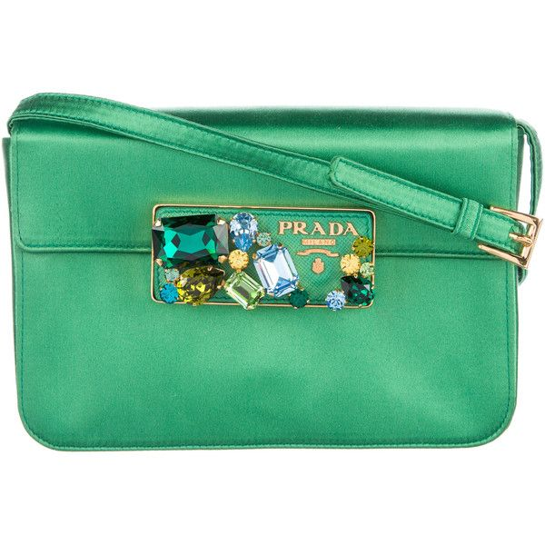 Pre-owned Prada Jewel-Embellished Satin Clutch ($345) found on Polyvore featuring women's fashion, bags, handbags, clutches, green, preowned handbags, jeweled handbags, green purse, prada clutches and green clutches