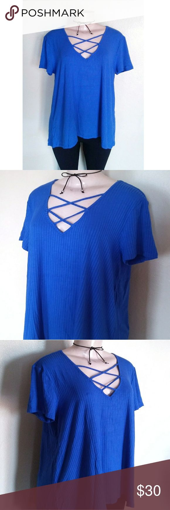 Plus Size Strappy Top New Stretch Ribbed Blue size 1x Yellow size 2x Tops Blouses