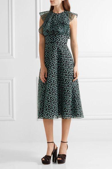Lela Rose - Ruffled Fil Coupé Organza Dress - Green - US16