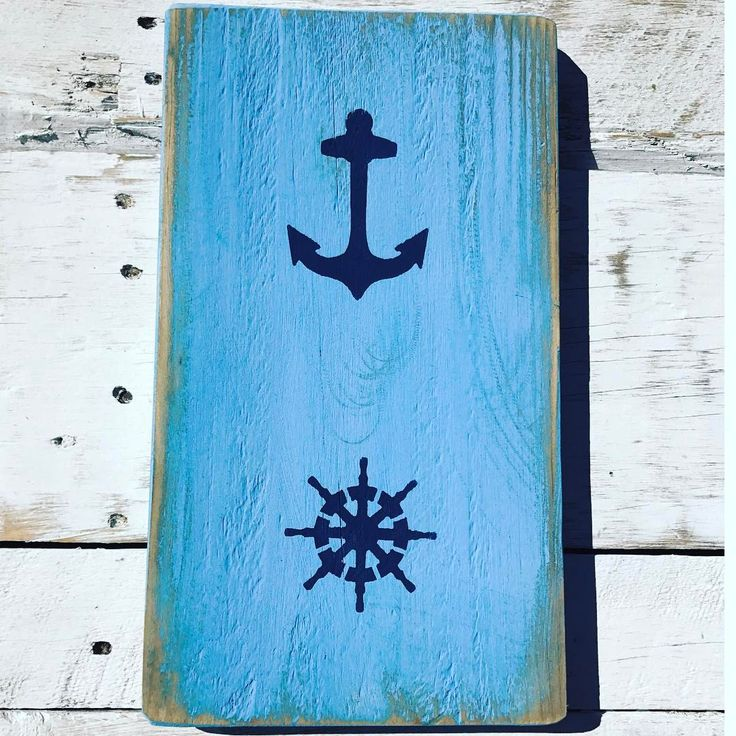 "50 Likes, 1 Comments - Lucy Lloyd Cahalin (@signsbyseasalt) on Instagram: ""Anchors Ahoy ⚓️. Have a Happy Easter everyone 🐥. . . . #pallet #pallets #palletsign #palletart…"""