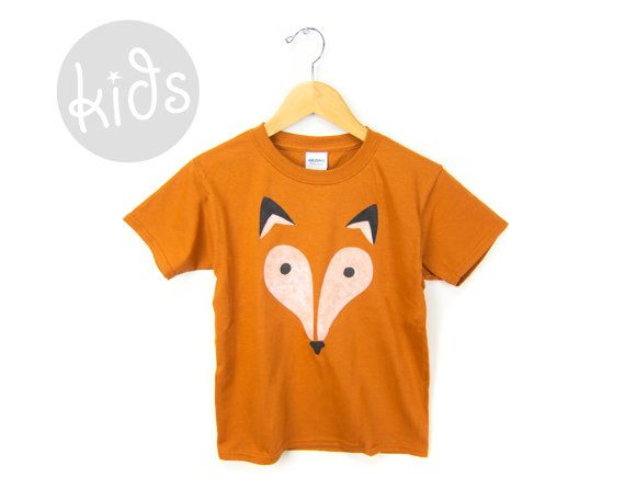 Kids cotton crew neck tee with my Geo Fox design hand stenciled on the front with soft water based inks. Made of 100% cotton with double-needle