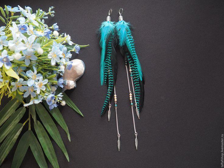 Удивительные приключения - бирюзовые серьги с перьями в стиле бохо - перья, перо, серьги с перьями