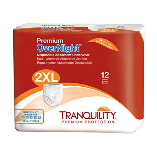 Tranquility Premium OverNight Disposable Absorbent Underwear (DAU) - XXL - 48 ct  Premium OverNight Disposable Absorbent Underwear (sometimes called pull-on or pull-up diapers) are designed for maximum levels of incontinence (20 oz to 34 oz capacity varying by size) allowing wearer uninterrupted sleep or confidence during long airplane flights  Pull-on style product with tear-away side seams for easy removal; Available in six convenient sizes: Small, Small, Medium, Large, X-Large (XL),...