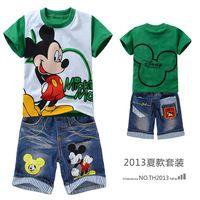 Imagen de la historieta de la ropa del muchacho niños establece Mickey del cabrito del algodón verde de manga corta camiseta + pantalones cortos de mezclilla muchacho ratón B00066