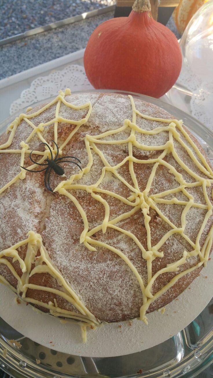 Delicious home made cake! Vanilla sponge with lemon & vanilla icing and morello cherries jam. 😋😋😋🕸🕸🕷🕷☕☕