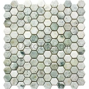 1 Inch Hexagon Tumbled Ming Green Mosaic Tile Bathrooms