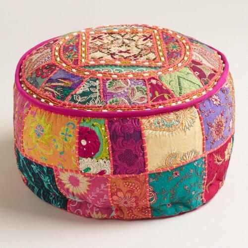 $45 Made of vibrant recycled fabrics with embellishments and Indian patchwork, our exclusive Pink Suti Pouf is a brilliant extra seating solution. This portable pouf adds color and comfort to any room.