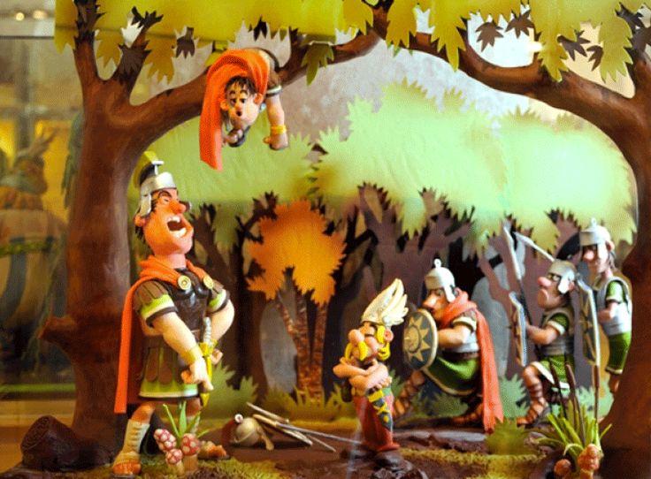 Aunque parezca mentira, esta escena de Astérix y Obelix está hecha de chocolate. En el Museo del Chocolate, Barcelona.
