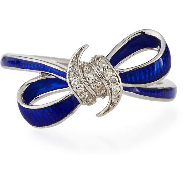 Stephen Webster Forget Me Knot Blue Enamel & Diamond Bow Ring (€285) ❤ liked on Polyvore featuring jewelry, rings, cocktail rings, diamond bow ring, enamel jewelry, diamond jewelry and diamond cocktail rings