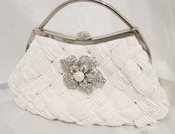 White Bridal Wedding Bag Clutch Formal Wear With Large Rhinestone Brooch Bridal Wedding Clutch ...