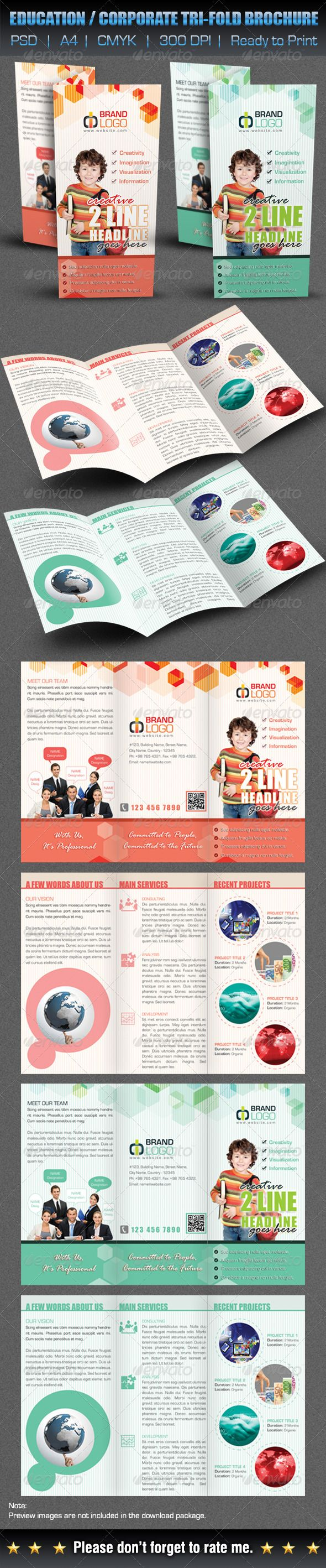 Creative education corporate tri fold brochure rage for Adobe photoshop brochure templates