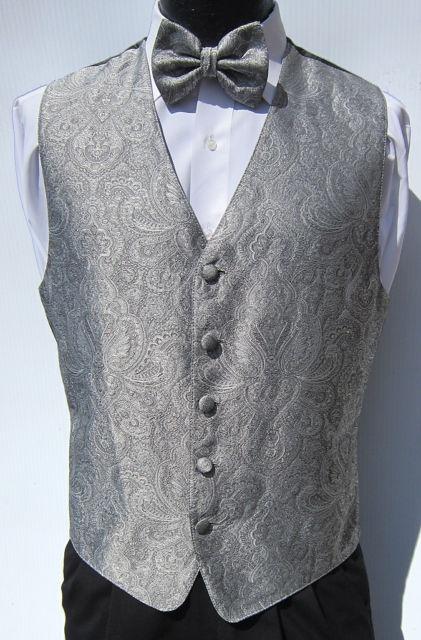 Mens Silver Patterned Fullback Vest Bow Tie Wedding Prom Paisley Large | eBay