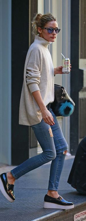 Olivia Palermo: Sunglasses – Westward Leaning  Key Chain – Fendi  Jeans – AG Adriano Goldschmied  Purse – Givenchy