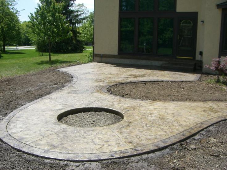 Stamped Concrete Patio With Fire Pit | Textured Skin Stamped Concrete With  Brussels Dimensional Stone Firepit