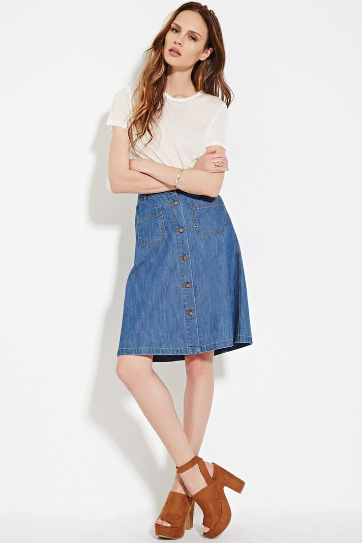 Forever 21 Contemporary - A Life in Progress™ denim skirt featuring a buttoned front, a knee length, and front patch pockets.