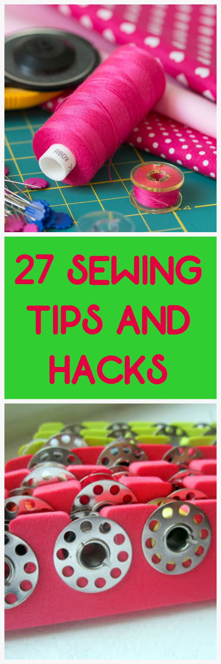 27 sewing hacks. Make the most of your sewing with these tips and tricks. #sewing #diy #crafts #thehybridchick #sewingmachine