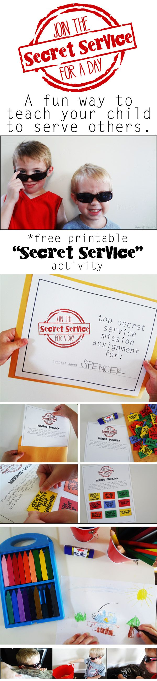 "Teaching your child about kindness: A ""Secret Service"" activity with 4 printables."