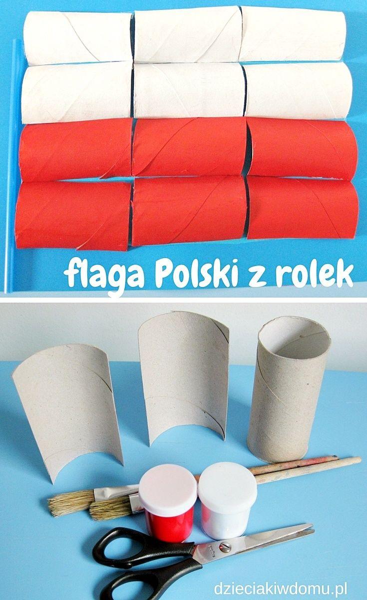 Flaga Polski z rolek - praca plastyczna dla dzieci   Crafts for ...