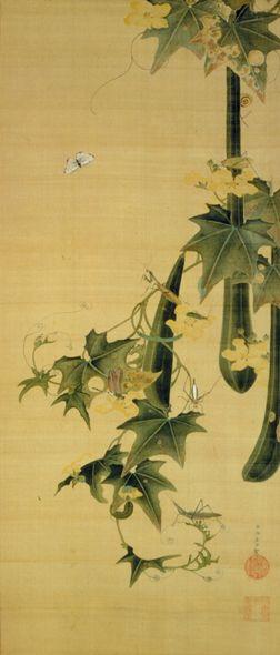 伊藤若冲 糸瓜群虫図 1753年~1754年頃