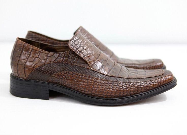 Steve Madden Men's Size 11 Fortunes - Snake Skin Look Leather Slides BROWN  NICE