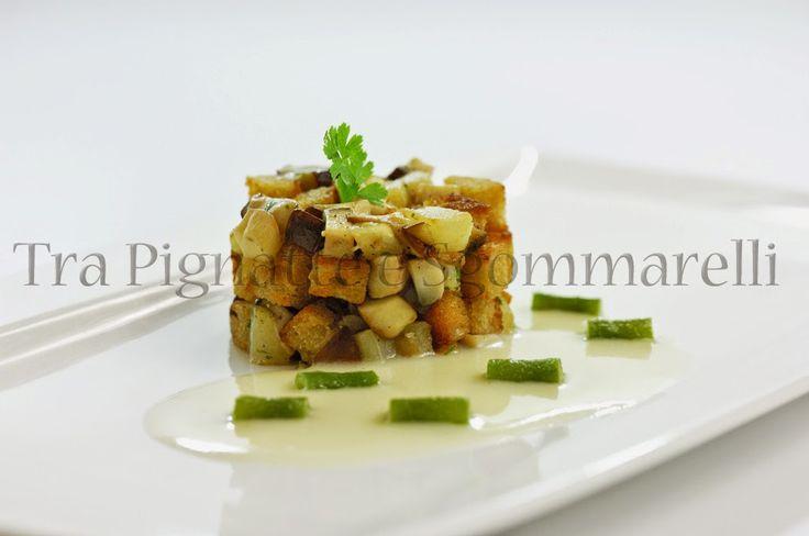 Porcini, topinambur e pane, con crema di patate al parmigiano e fagiolini saltati | Tra pignatte e sgommarelli