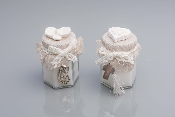 Glass Jar candle with scented clay decoration on top, in addition to Silver Cross and Virgin Mary motifs.