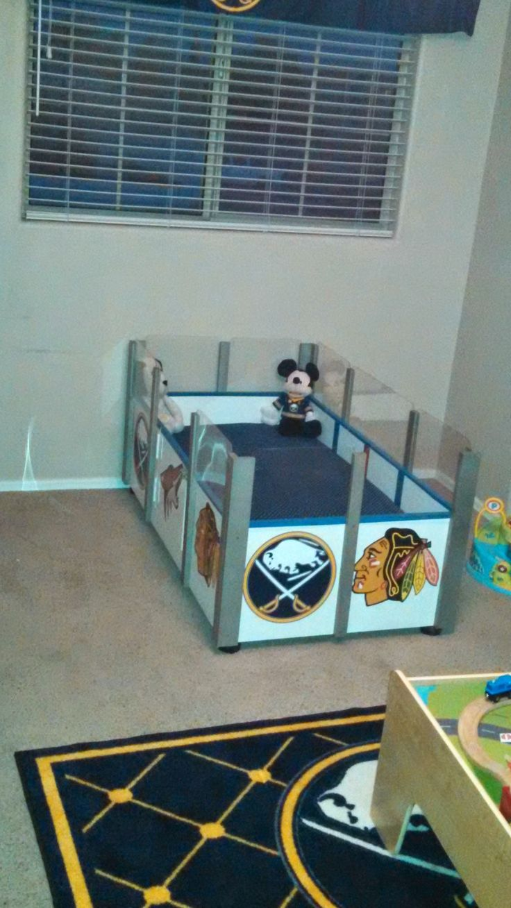 Boys hockey bedroom ideas - My Variation Of The Hockey Rink Bed For My Little Guy