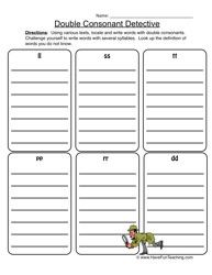 double consonant detective double consonants worksheet 1 activities worksheets for kids and kid. Black Bedroom Furniture Sets. Home Design Ideas