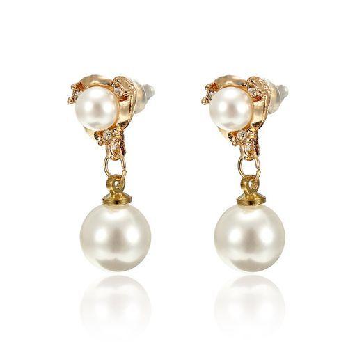 Chapado en oro perla de imitación pendientes de gota cristalinos de la joyería de diamantes de imitación mujeres código(1037098)