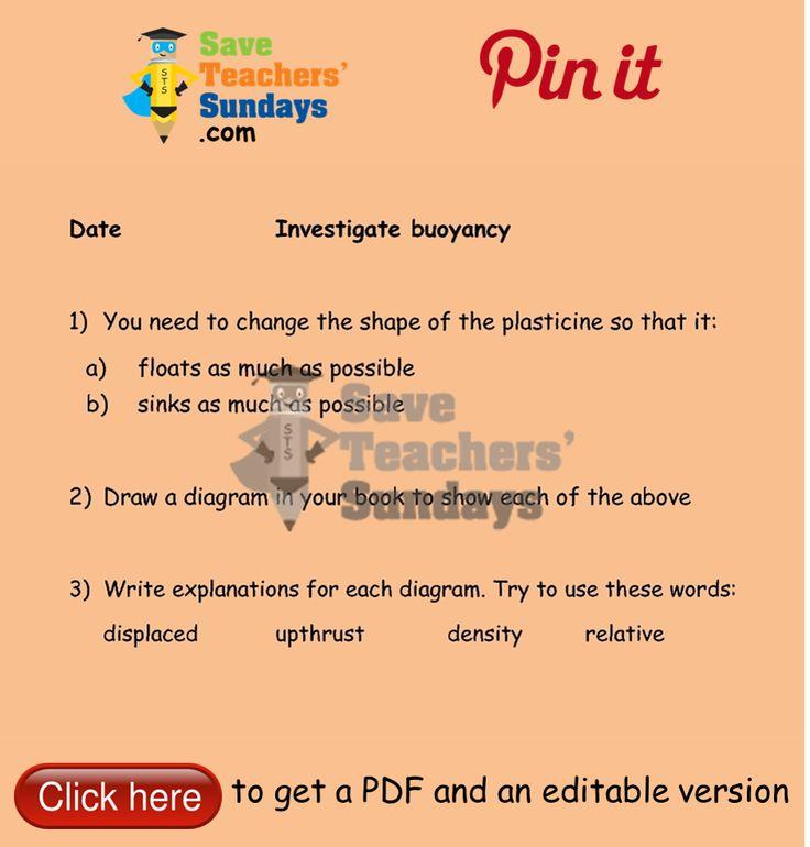 Buoyancy mini-investigation 1 instructions. Go to http://www.saveteacherssundays.com/science/year-5/508/lesson-4-buoyancy/ to download this Buoyancy mini-investigation 1 instructions. #SaveTeachersSundaysUK