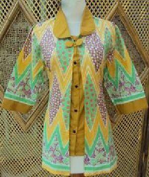 Blus Batik Sistar Kuning Bahan katun, batik printing, ukuran lingkar dada 90-100cm