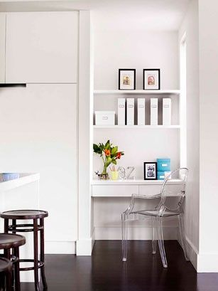 Study Nook Drawers are good for clutter and open shelving for orderly displays